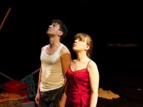 Joshua Brant and Ella Vize as the College Boy and the ensemble